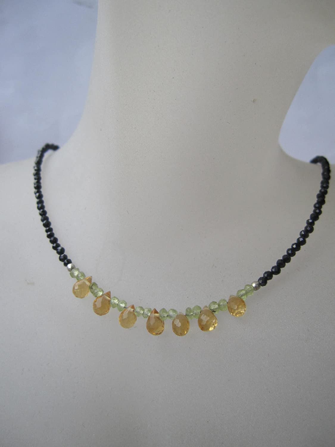 Custom Size 15,16,17,18 20 Inches Citrine,Peridot,Black Spinel Necklace,925 Sterling Silver Chain Extender 1 inch