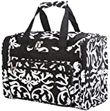 Black Floral Damask Duffle Bag 16-inch