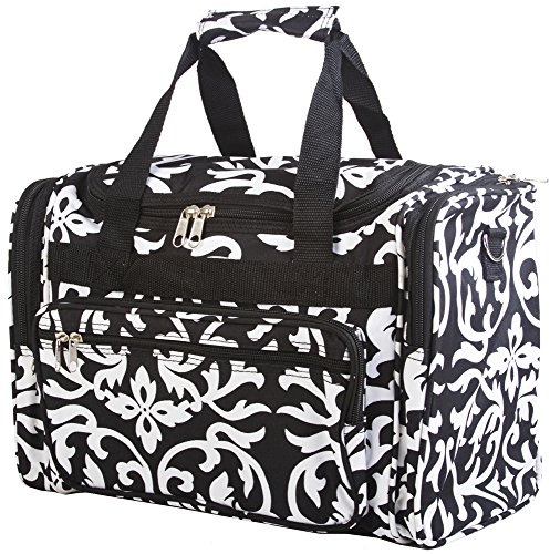 Black Floral Damask Duffle Bag 16-inch by scarlettsbags