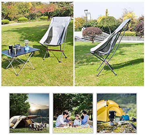 YANJ Silla Camping Plegable,Marco Resistente,patrón de Lunares,portavasos,Festival,Playa,Bolsa de Viaje de Hombro,Exterior(Gris