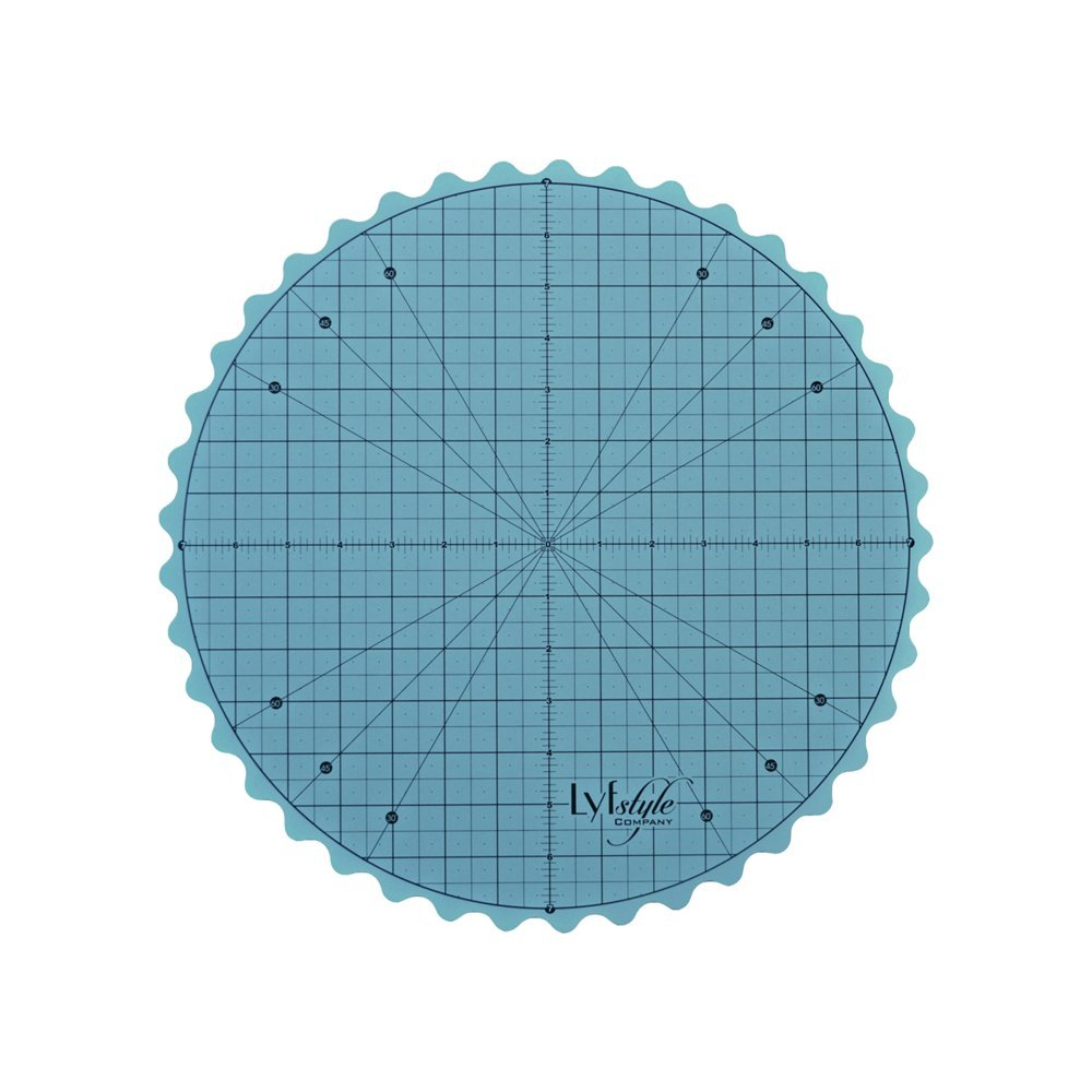 Lyfstyle Rotating Self Healing Cutting Mat / 14 inch Round Turntable / Icy Blue