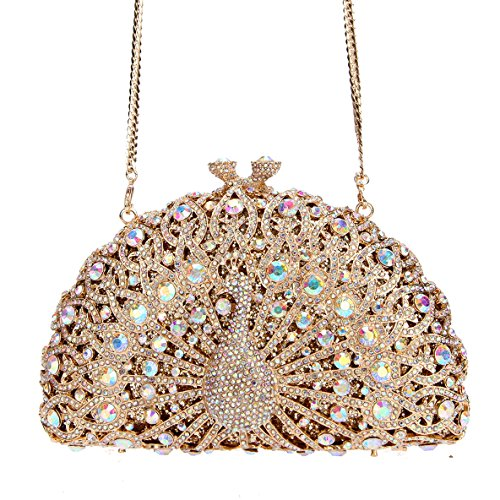 Bag Evening Black Ab Clutch Peacock Gold Girls Crystal For Glitter Bonjanvye Bq0wPP