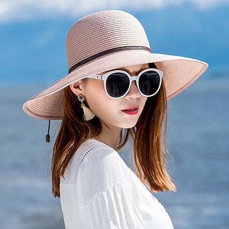 e64f0cf5e7f79 WQLQL Sombrero de Paja de Sol de Moda Visera de Verano Plegable Mujer  Protector Solar Playa