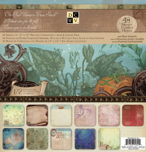 DCWV Once Upon A Time Stack with Glitter and New Artwork, 48 Sheets, 12 x 12 inches