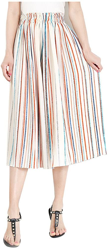 FeelMeStyle Women High Waist Loose Pants Elastic Waist Stripe Chiffon Wide Leg Pants