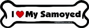 Imagine This Bone Car Magnet, I Love My Samoyed, 2-Inch by 7-Inch