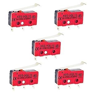 OdiySurveil (TM) 5PCS Long Hinge Roller Push Button SPDT AC Lever Type Miniature Micro Limit Switch