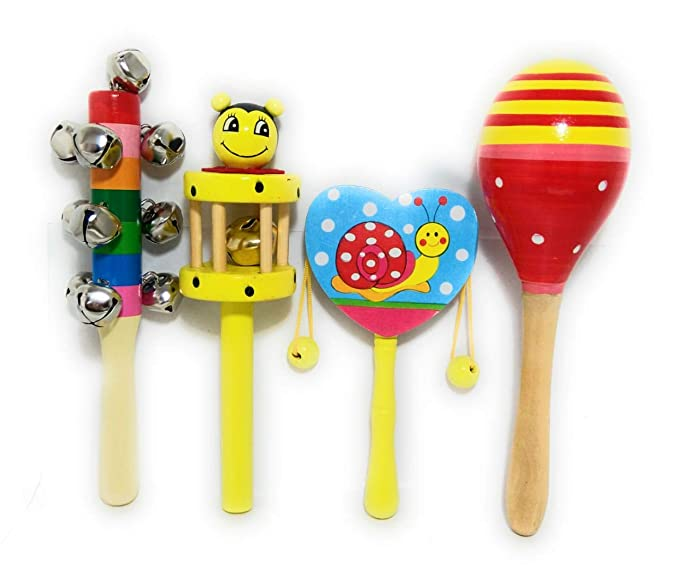 Craft Hand Colorful Wooden Baby Rattle Toy - Set of 4