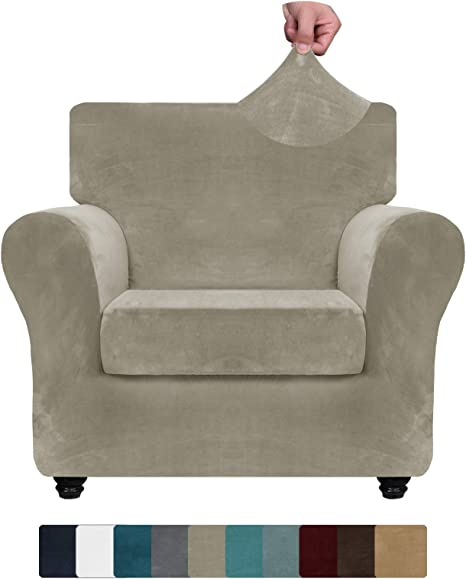 Znsayotx Luxury Velvet Chair Slipcovers With Arms 2 Piece Stretch Chair Covers For Living Room Thick Soft Armchair Slipcover Anti Slip Dog Pet Friendly Furnitre Protector Khaki Chair Kitchen Dining