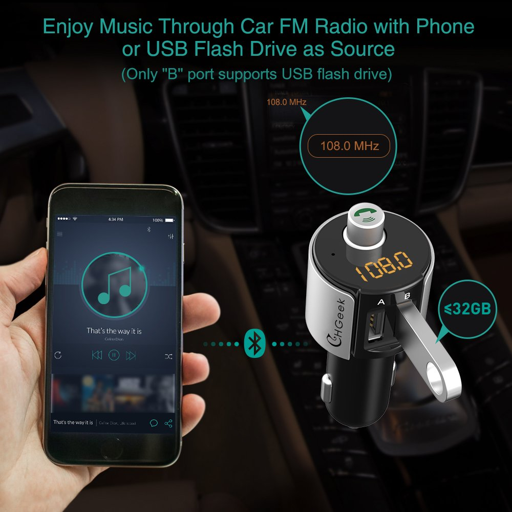 Bluetooth FM Transmitter for Car Wireless in-Car Radio Adapter with Dual USB Ports CHGeek 3-US-F140270V