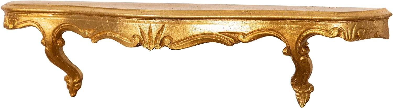 Mensola da Parete Biscottini Mensola da Muro Mensole Portaoggetti in legno finitura foglia oro anticato L 59 x PR 13 x H 14 cm Made in Italy