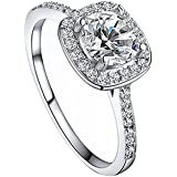 SODIAL(R) Women's Crystal Engagement Wedding Jewelry Ring Silver(8)