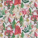 Caspari Entertaining with Continuous Roll of Gift Wrapping Paper, Lynn Haney Santas Snowflake , 8', 1-Roll