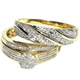 His and Her Trio Rings Set 0.3cttw Diamonds 10K Yellow Gold Pave Set 3pc set(I/jColor, 0.3cttw)