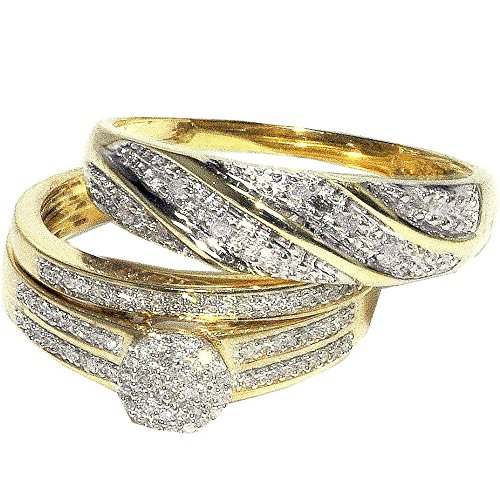 His and Her Trio Rings Set 0.3cttw Diamonds 10K Yellow Gold Pave Set 3pc set(I/jColor, 0.3cttw) by Midwest Jewellery