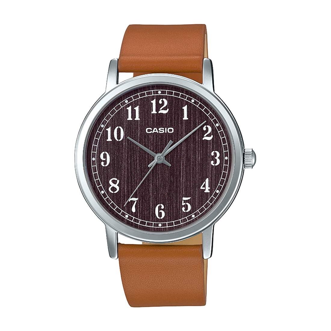 2baf50c2522 Amazon.com  Casio MTP-E145L-5B1 Men s Minimalist Grey Wood Pattern Dial  Leather Band Analog Watch  Watches
