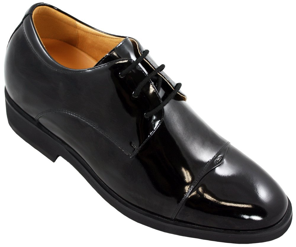 TOTO - X5502 - 2.6 Inches Taller - Size 11.5 D US - Height Increasing Elevator Shoes (Black Patent Leather Lace up Formal Dress Shoes) - Perfect for wedding