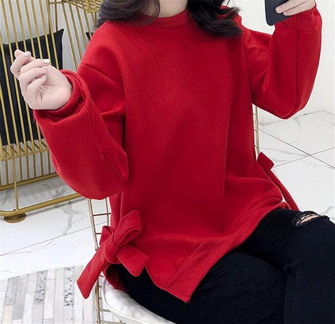Etecredpow Women Stylish Bow Pullover Crewneck Double Slit Sweatshirts Jacket