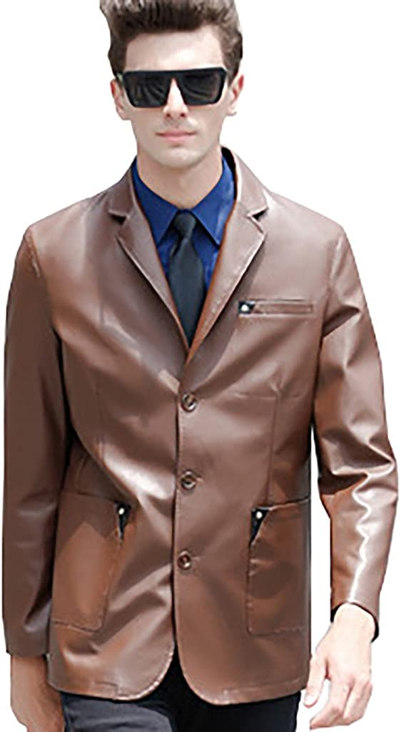 QZUnique Mens Casual Slim Fit Single Breasted Faux Leather Brown Jacket