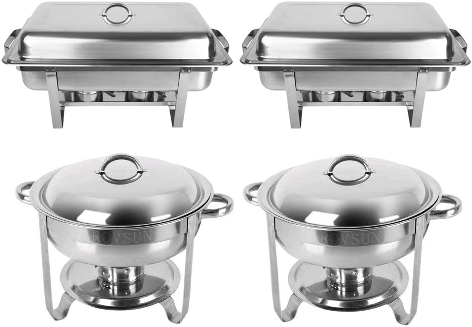 ROSVUN Upgraded Stainless Steel Chafing Dish Buffet Silver Round Catering Warmer Set