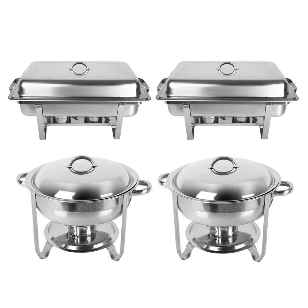 ROSVUN Upgraded Stainless Steel Chafing Dish Buffet Silver Round Catering Warmer Set with Food and Water Trays, Mirror Cover, Thick Stand Frame for Kitchen Party Banquet (2 Round+ 2 Rectangular)
