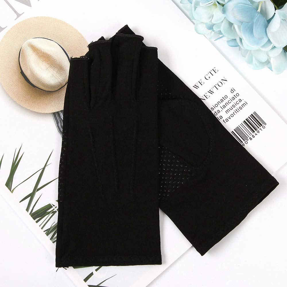 Comfortable UPF50+ Men and Women Thin Section Cotton Half-Finger Fingerless Slip-on Rider Sunscreen Sun Protection Gloves Durable (Color : Black, Size : S-Five Pairs)