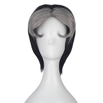 Amazon Com Miss U Hair Men Boy Short Black And Grey Hair Adult