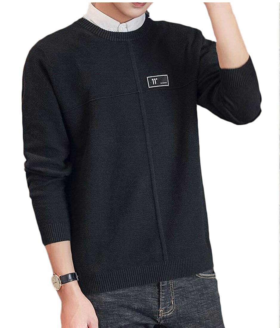 Hajotrawa Men Slim Fit Crewneck Knits Top Solid Color Pullover Sweaters