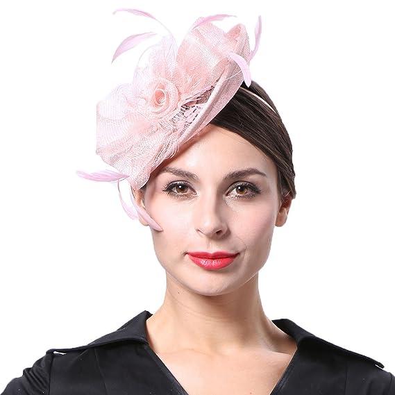 Koola s Sinamay Bridal Headpiece Wedding Fascinators Hatinators Pink ... c1e2cddb746