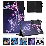 All-New Kindle Fire HD 8 Tablet Case 2017/2016,UUcovers Slim Folding Stand Cover with Pen Slot SD Card Slots Auto Wake/Sleep for Kindle HD 8 case 2017/2016- Purple Butterfly