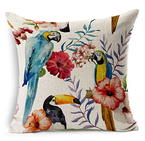 Gintan Cotton Linen Tropical Leaves and Animals Print Throw Pillow Case Cushion Cover 18 X 18 Inch