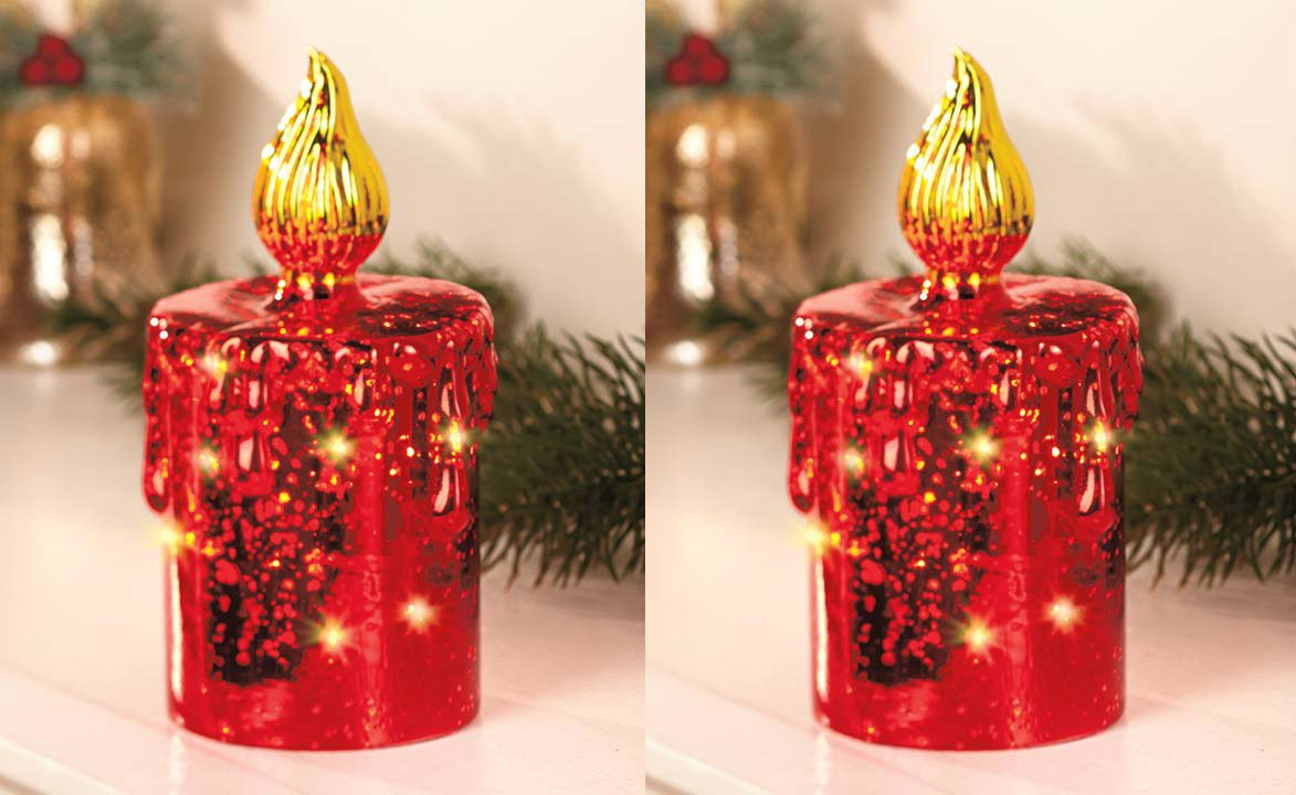 Set of Two 7-1/2''h'' Red Mercury Glass Lighted Battery Operated Table Top Decor Christmas Holiday Candle Decoration