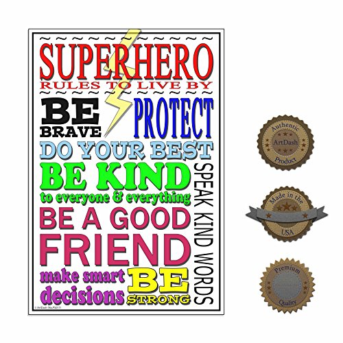 Inspirational Poster Print for Classroom, Home, or Office: Superhero Rules To Live By Heavy