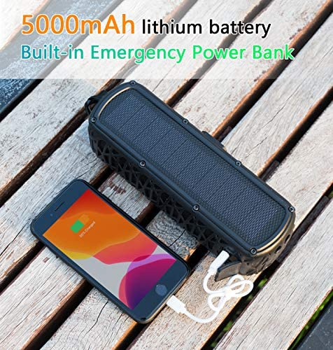 ABFOCE Solar Bluetooth Speaker Portable Outdoor Bluetooth IPX6 Waterproof Speaker with 5000mAh Power Bank,60 Hours Play Time Dual Speaker with Mic, Stereo Sound with Bass Home Wireless Speaker-Black 61wX679qW9L