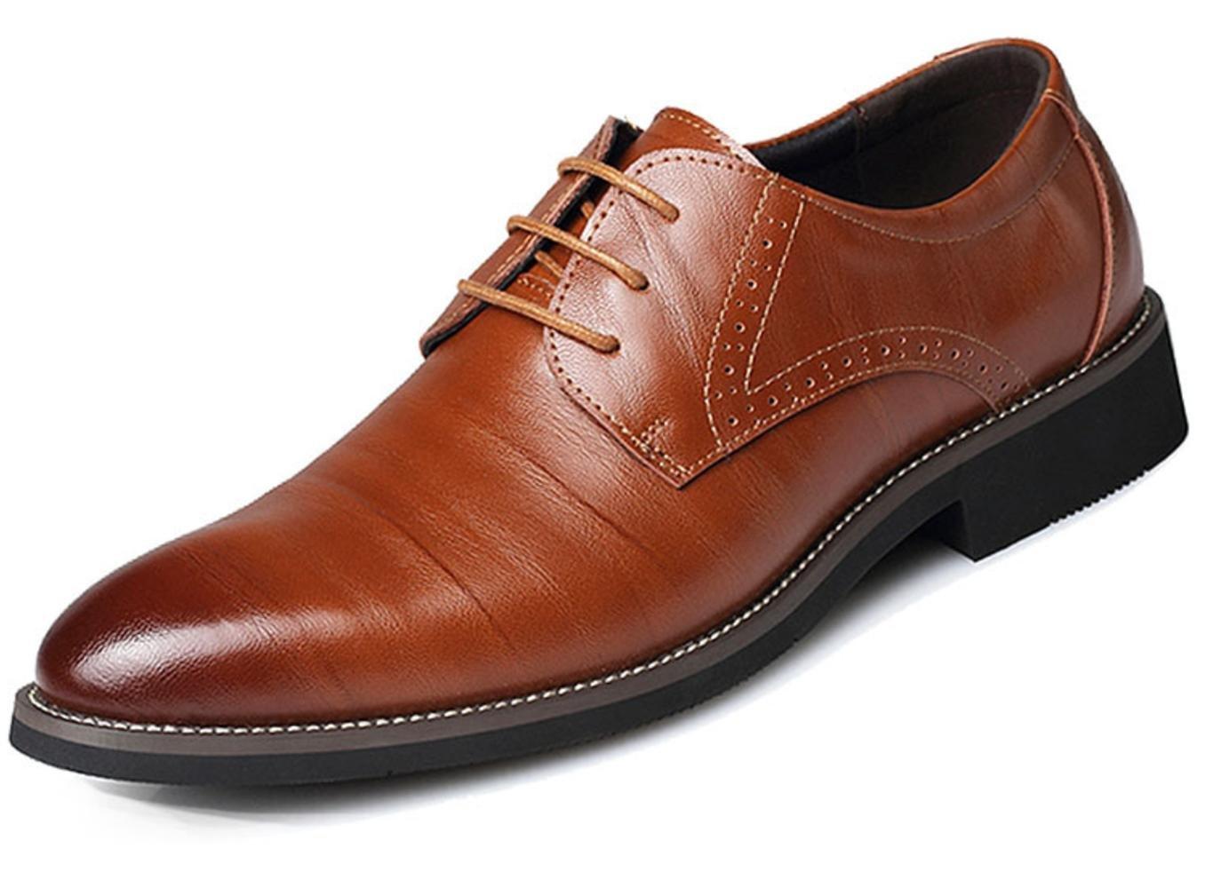 XDGG Männer echtes Leder spitzte Zehe Business Casual Schuhe Große Größe Arbeit Hochzeit Schuhe , Gelb , 45
