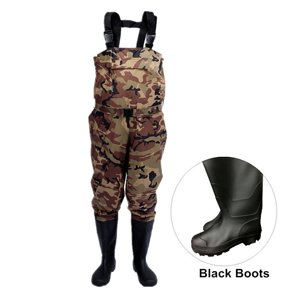 unistrengh滑り止め釣り狩猟Waders for Men withブーツ、2層ナイロン/PVC防水Bootfoot胸渉禽類 #12.5 迷彩 B07D74B6VQ