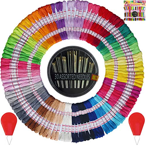Premium Vibrant Rainbow Color Embroidery Floss – Friendship Bracelets Floss – Cross Stitch Threads – Crafts Floss – 105 Skeins Per Pack and Free Set of 30 Embroidery Needles and 2 Needle Threaders