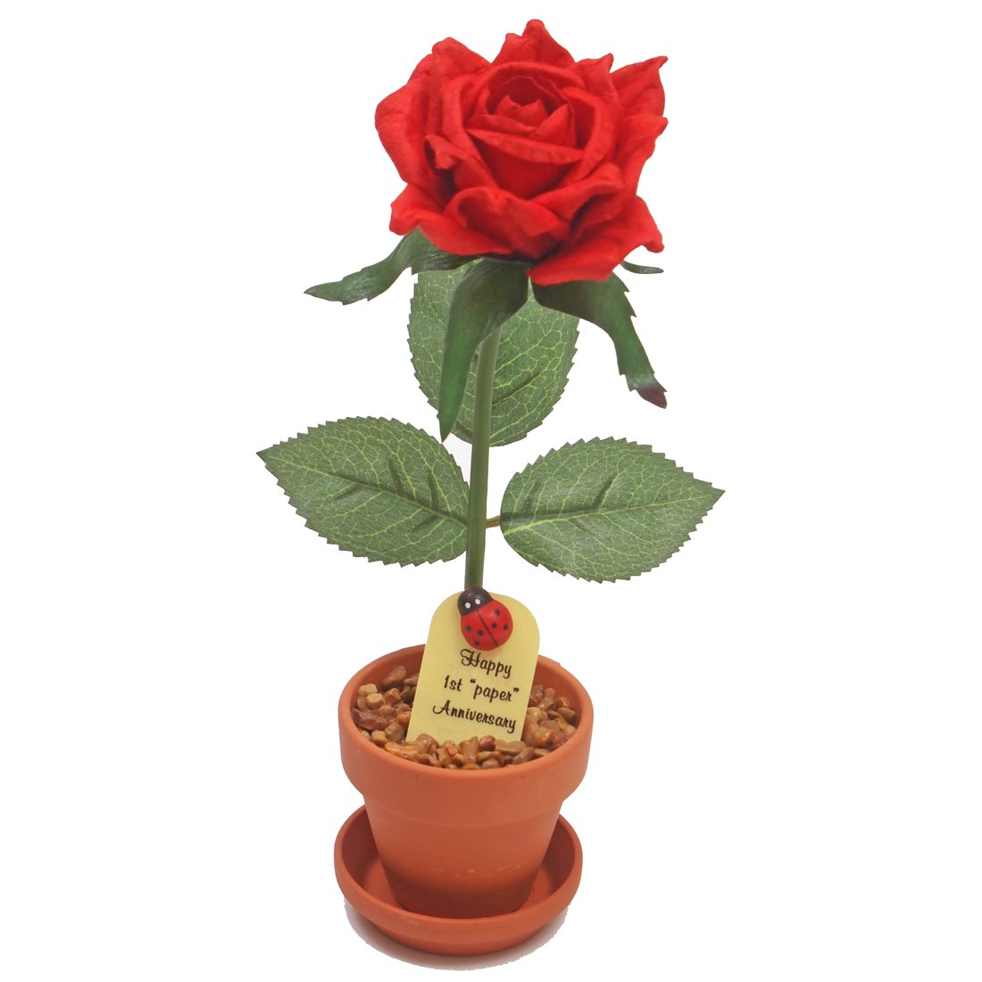 Amazon.com: 1st First Wedding Anniversary Gift Potted Paper Rose (we ...