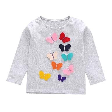 dbd7b05ca04e Anxinke Toddler Baby Girls Butterfly Applique Long Sleeve Tee Shirts Tops  (12M