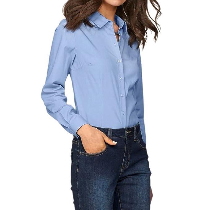 Moda Manga Larga Camiseta Mujer Color Sólido Collar Abatible Blusa con Botones Elegante Casual Camisa Otoño