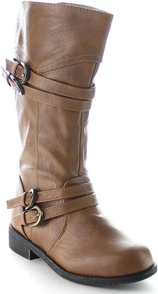 Lucky Top Fay-42K Children Girls Classical Block Heel Buckle Knee High Riding Boots