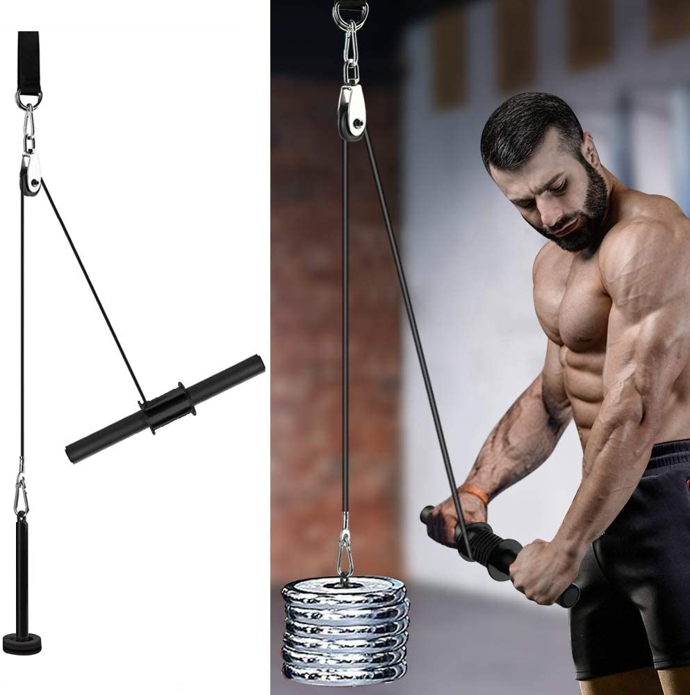 PELLOR Forearm Wrist Blaster Roller with Pulley Gym Arm Strength Trainer Grip Wire Rope and Steel Pipe