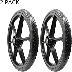 """BAIVE BW 20 x 2 Inch Flat Free Replacement Tire on Wheel, 2.44"""" Hub, 3/4"""" Ball Bearings, Assembly for Big Wheel Carts (Pack of 2)"""