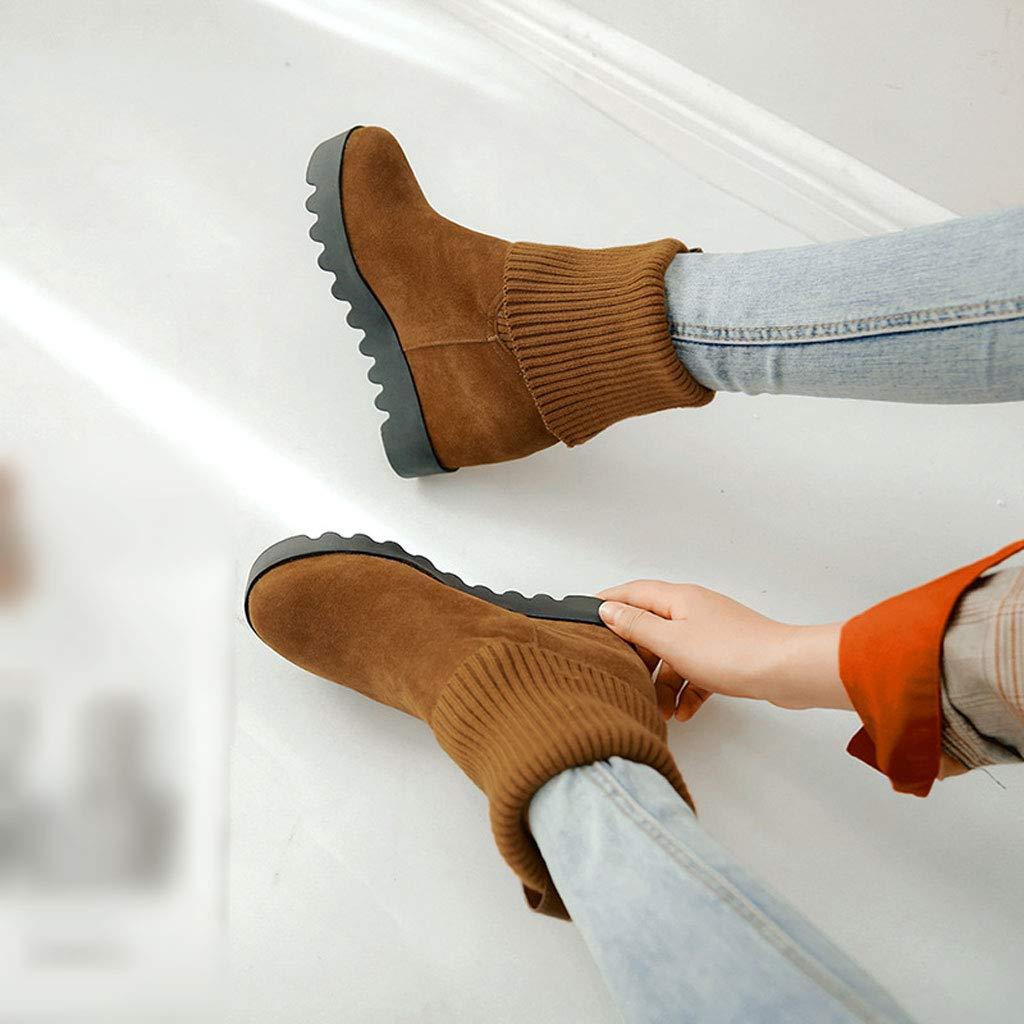 FCXBQ Mode Niedrige Stiefel, Stiefel, Stiefel, High Heel Wedges Kurze Stiefel Runde Kopf Martin Stiefel GüRtelschnalle Stiefeletten Wasserdichte Plattform Slip Damen Schneeschuhe 4486a7