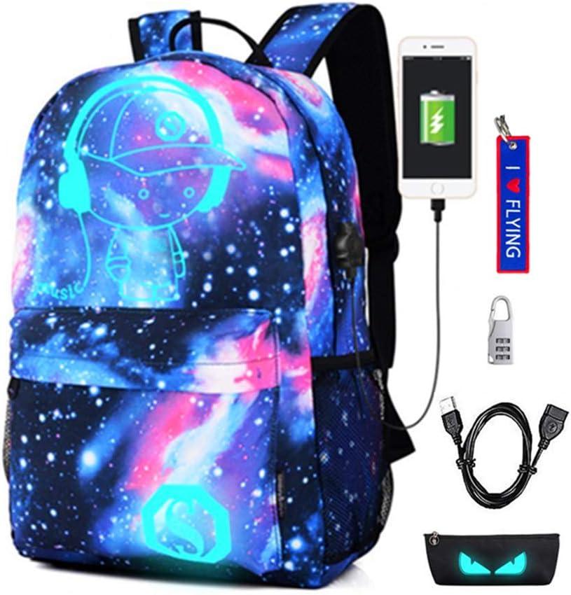 Mochila Luminosa Mochilas con Puerto de Carga USB Mochila para Estudiantes Cool Unisex Galaxy Bandolera (Niño Estrellado de la música Azul)