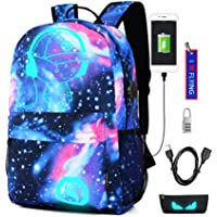 WYCY Anime Cartoon Luminous Backpack mochila de moda con puerto de carga USB y estuche antirrobo de bloqueo y lápiz, mochila escolar unisex Bookbag