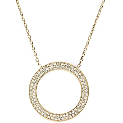 kors gold and l dp quot amazon com necklace michael tone crystal pendant logo