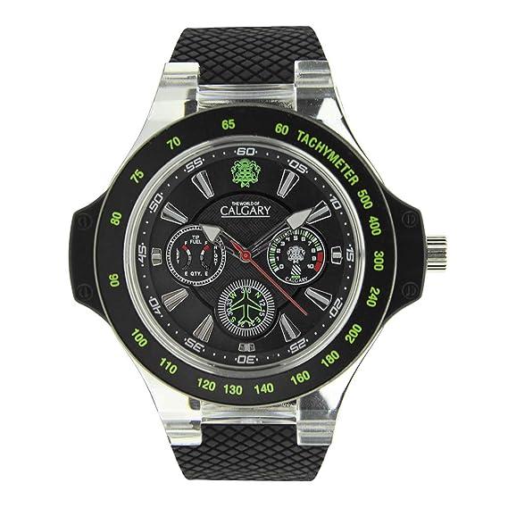 Relojes Calgary Hudson Track. Reloj Deportivo para Hombre, Correa de Caucho Negra, Esfera Color Negra y Verde: Amazon.es: Relojes