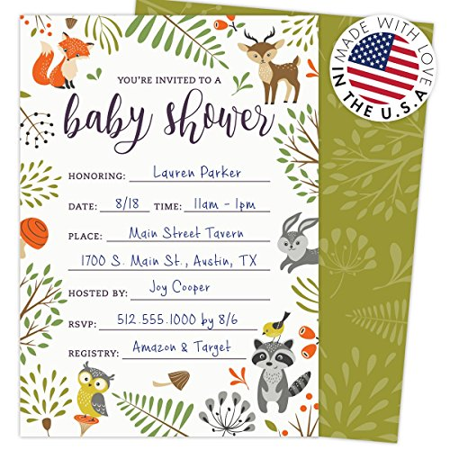 Large Product Image of Woodland Baby Shower Invitations with Owl and Forest Animals. Set of 25 Fill-in Style Blank Cards and Envelopes. Unisex design suitable for boy or girl.