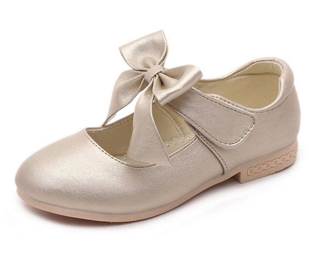 Bumud Little Girls Mary Jane Dress Ballet Ankle Strap Bow Flat Shoes (2 M US Little Kid, Golden)